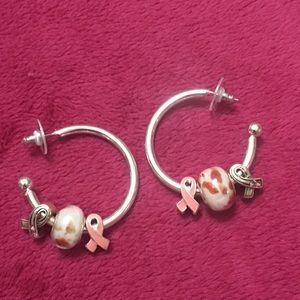 Breast cancer earrings